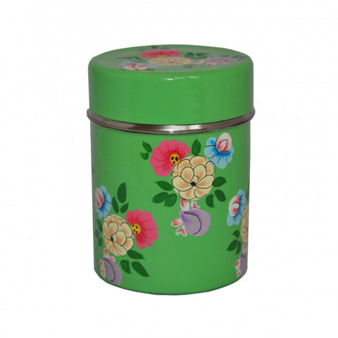 Bright Green Hand Painted Enamel Tea Caddy
