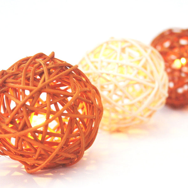 Beige/Cream Rattan Ball String Lighting