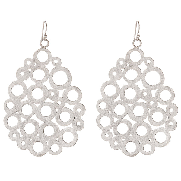 Brushed Silver Cutwork Teardrop Earrings
