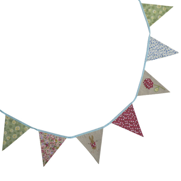 Patchwork and Embroidered Rabbit Bunting
