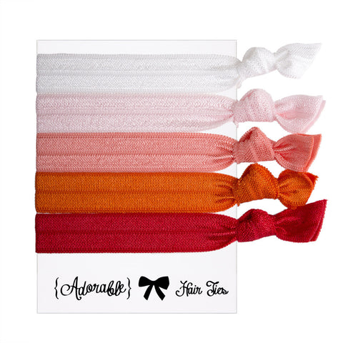 Hair & Wrist Band Multipack (Candy Orange)