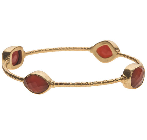 Chunky Carnelian Stone Bangle