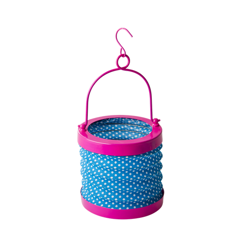 Blue Fabric Accordion Tea-Light Lantern