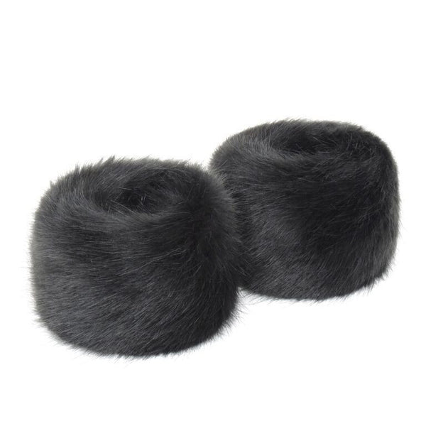 Charcoal Faux Fur Wrist Warmers