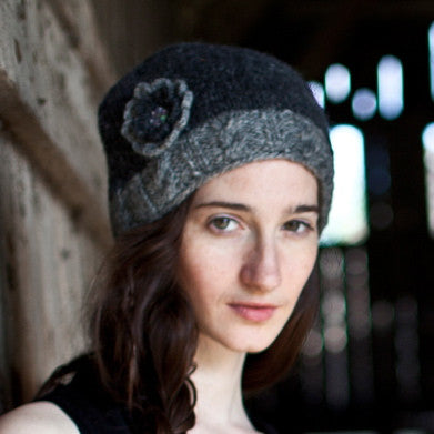 Charcoal Woollen Hat with Flower