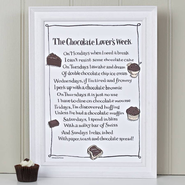 'The Chocolate Lover's Week' Poem Print