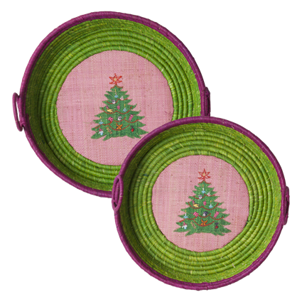 Set of 2 Green Raffia Christmas Tree Baskets