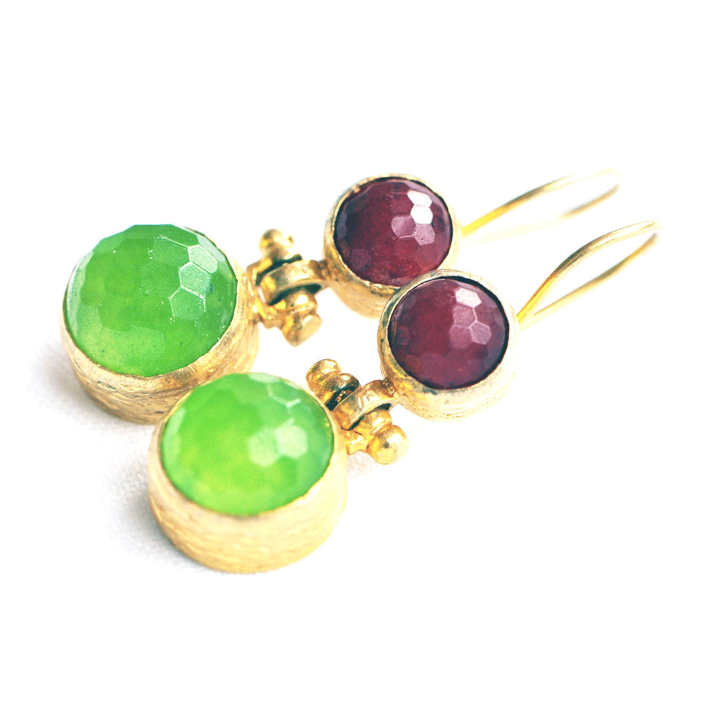 Gold Plated Lime and Claret Earrings
