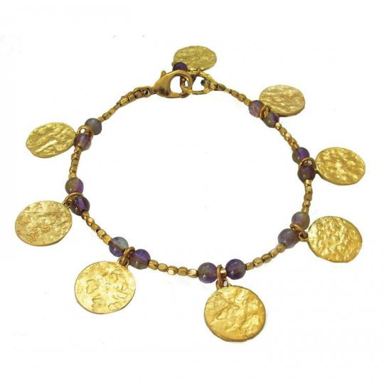 Gold Plated Amethyst Disc Charm Bracelet