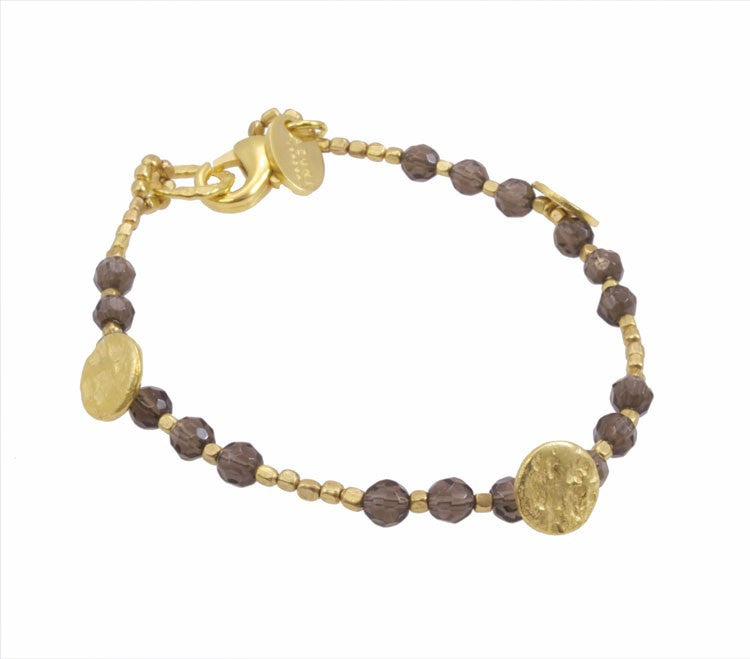 Smoky Quartz Plated Sun Disc Bracelet