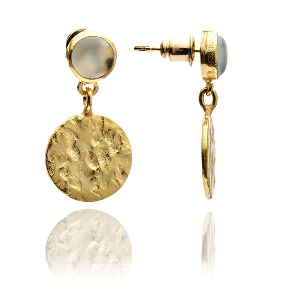 Aqua Disc Drop Earrings