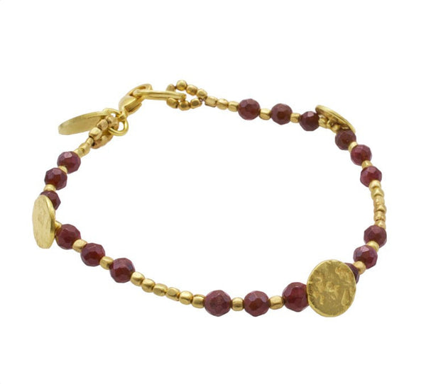 Garnet Gold Plated Sun Disc Bracelet