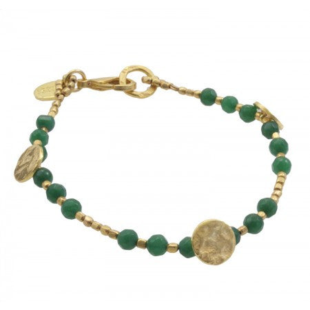 Green Quartz Gold Plated Sun Disc Bracelet