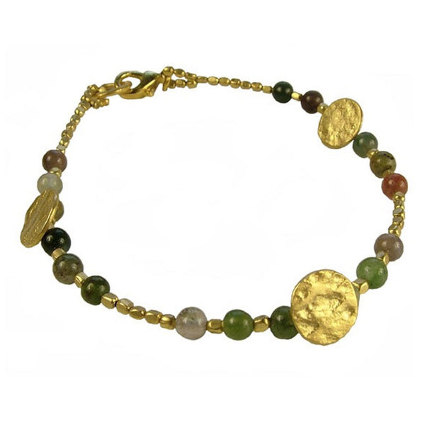 Gold Plated Jasper Sun Disc Bracelet
