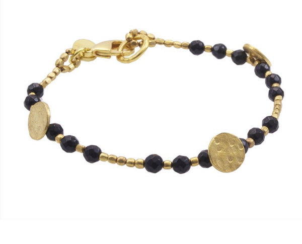 Onyx Gold Plated Sun Disc Bracelet