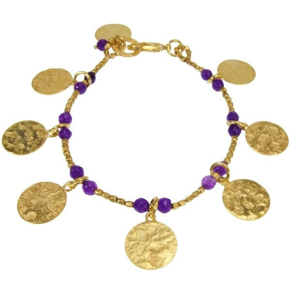 Gold Plated Purple Jade Disc Charm Bracelet