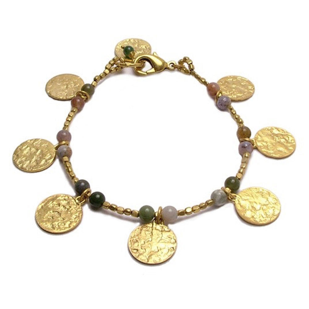 Gold Plated Jasper Disc Charm Bracelet