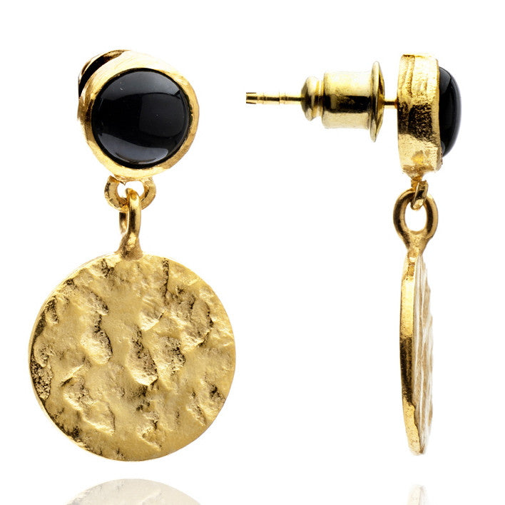 Onyx Disc Drop Earrings