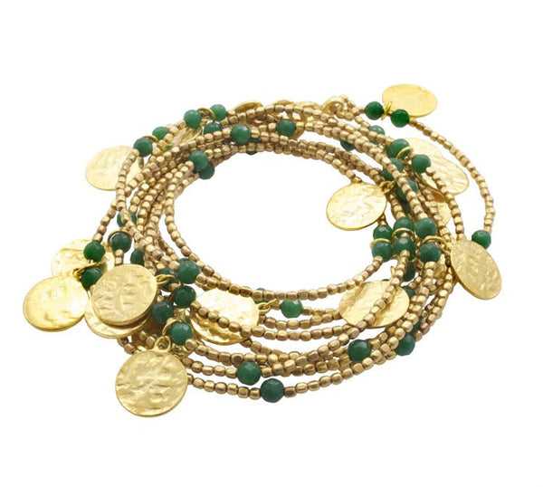 Long Coin Green Chalcedony Wrap Necklace
