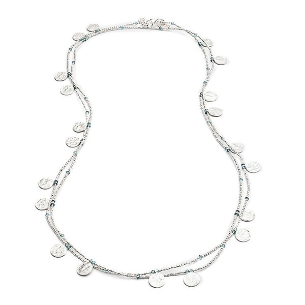 Aqua Semi-Precious Silver Coin Wrap Necklace