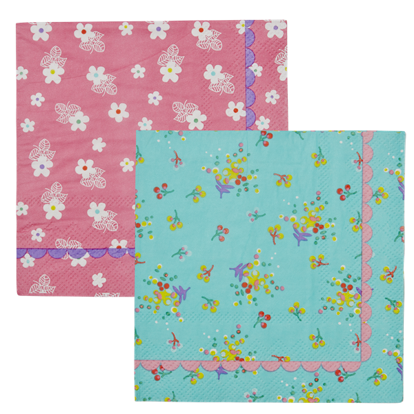 Rice DK Cocktail Napkins with Pink and Aqua Floral Prints