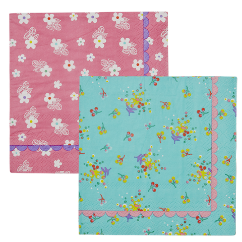 20 Paper Cocktail Napkins with Aqua Floral Print