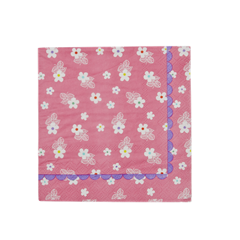 Rice DK Cocktail Napkins with Pink Floral Print