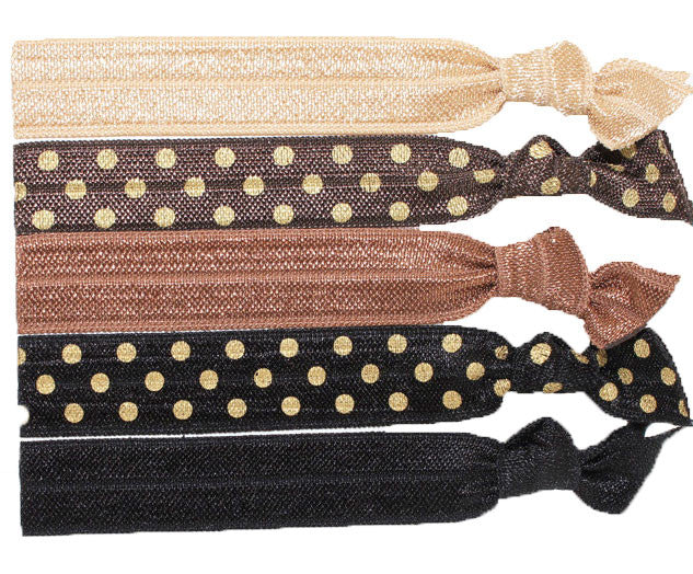 Cocoa Medley Elastic Ribbon Hair Ties