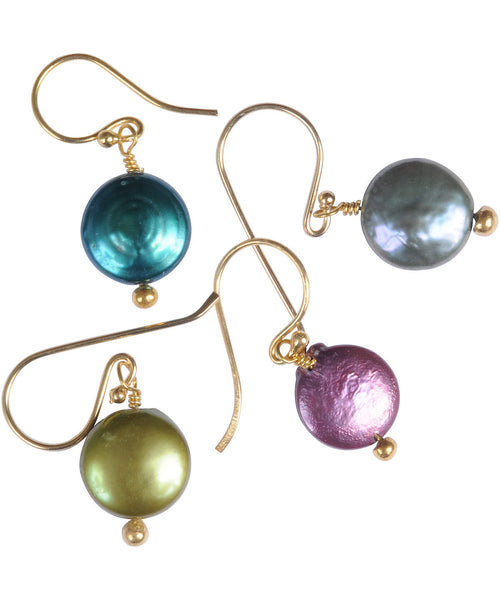 Freshwater Pearl Coin Earrings