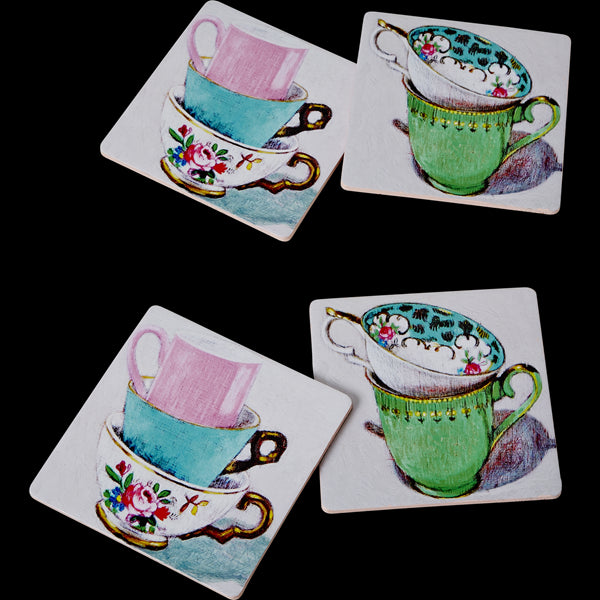 4 Cork Coasters with Andrea Teacup Print