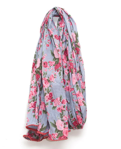 Blue Smoky Vintage Rose Scarf