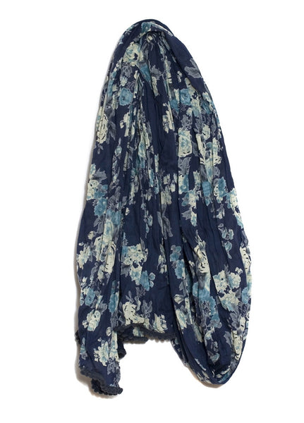 Dark Blue Vintage Rose Scarf