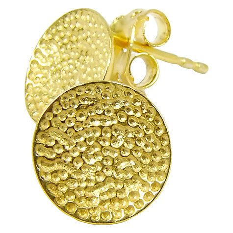 Gold Plated Crater Disc Stud Earrings