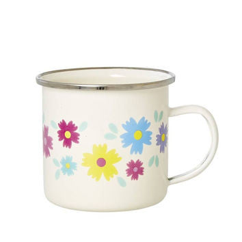 Enamel Mug with Flower Print