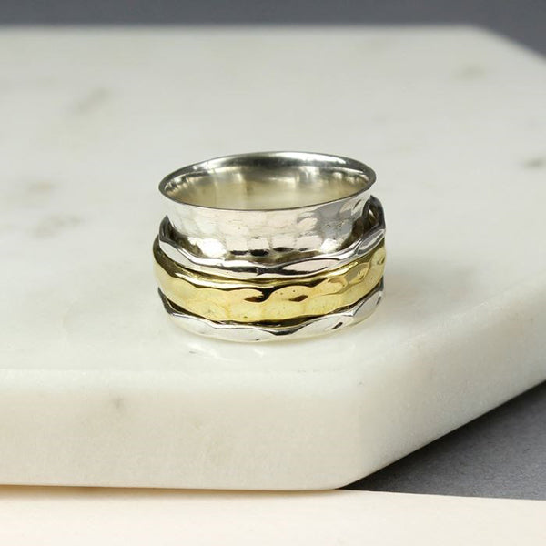 Sterling Silver and Brass Triple Band Spinning Ring