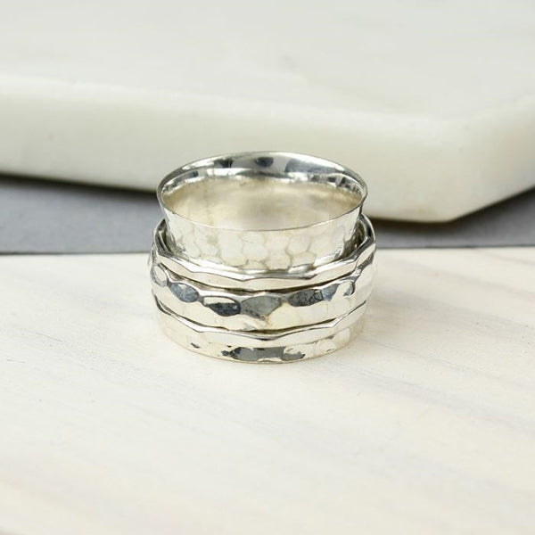 Sterling Silver Spinning Ring With Triple Textured Moving Bands