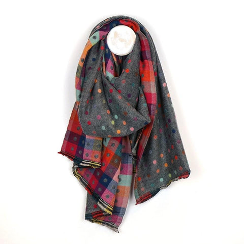 Grey Reversible Multicoloured Spot & Check Scarf
