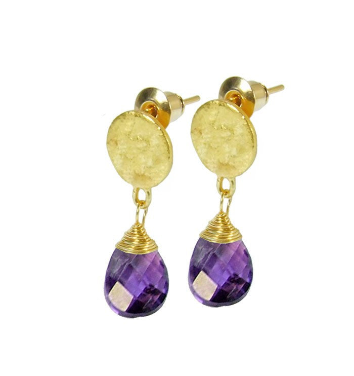 Azuni Gold Plated Disc Earrings with Amethyst