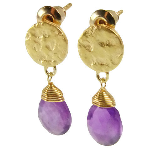 Gold Plated Disc Earrings with Amethyst