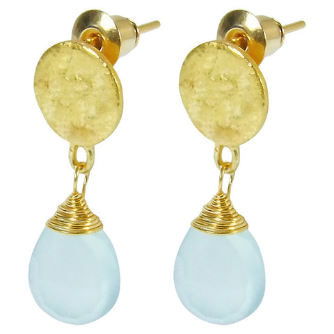 Gold Plated Aqua Chalcedony Drop Earrings