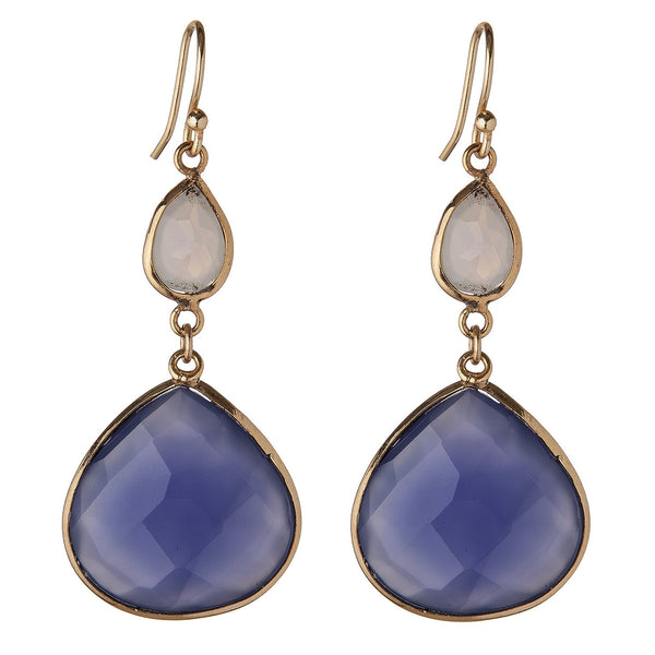 Blue Denim Chalcedony & Moonstone Earrings