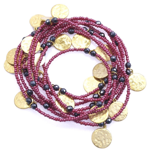 Red Long Coin Wrap Necklace