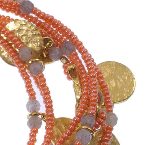 Tangerine Long Coin Wrap Necklace