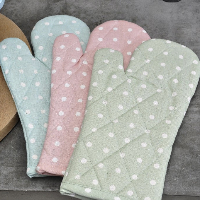 Mint Green Spotted Cotton Oven Glove