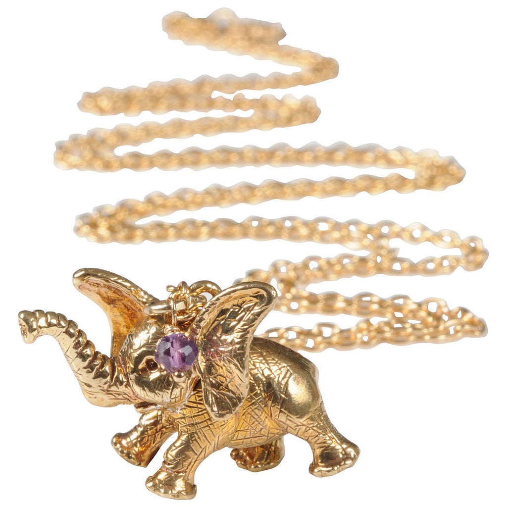 Dumbo Pendant Necklace with Amethyst