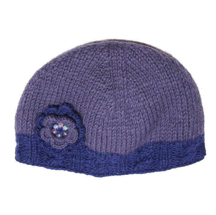 Blue Dusky Woollen Hat with Flower