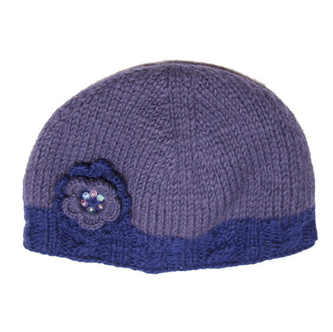 Dusky Blue Woollen Hat with Flower