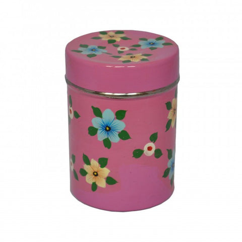 Dusky Pink Hand Painted Tea Caddy