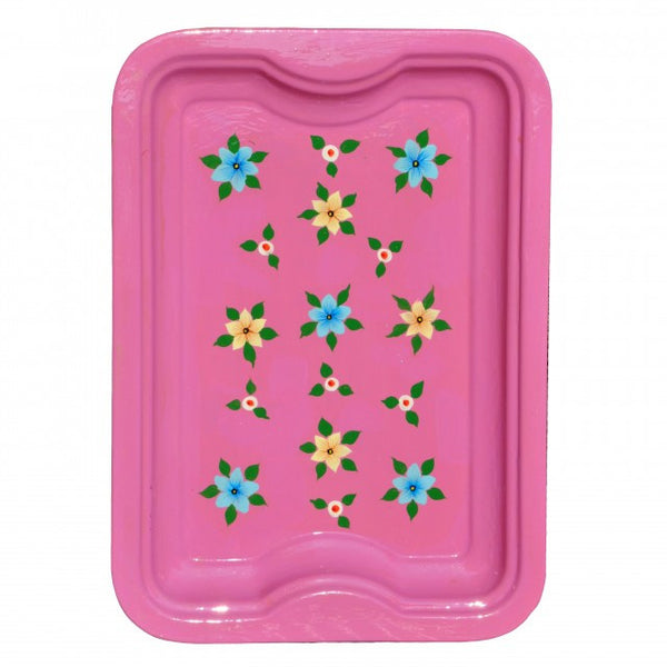 Dusky Pink Hand Painted Rectangular Tray