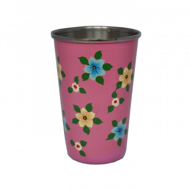 Dusty Pink Hand Painted Enamel Tumbler
